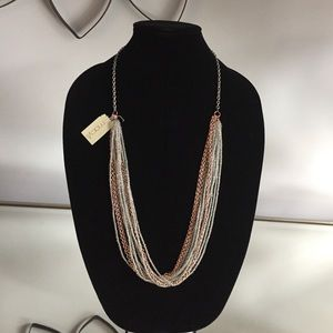 Multistrand Beaded Rose Gold-tone Chain Necklace